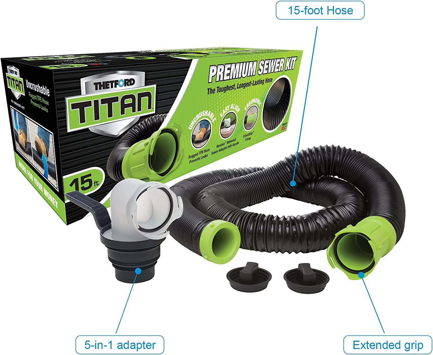 Thetford 1218.7853 Titan Sewer 15 Foot Hose Kit 17853