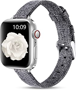 Easuny Slim Fabric Band Compatible with Apple Watch 44mm 42mm for Women Men, Soft Woven Canvas Replacement Strap for iWatch SE & Series 6 5 4 3 2 1, Slim Thin Durable Wristband Accessory, Light Gray