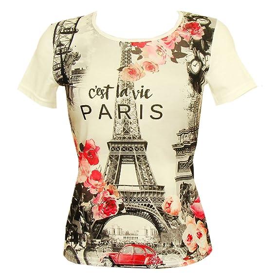 T-Shirt Femme Luxe Paris  C est La Vie  - Blanc  Amazon.fr  Vêtements et  accessoires 2033110f3fe5