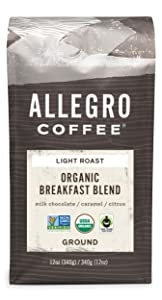 Allegro Coffee Organic Breakfast Blend Ground Coffee, 12 oz