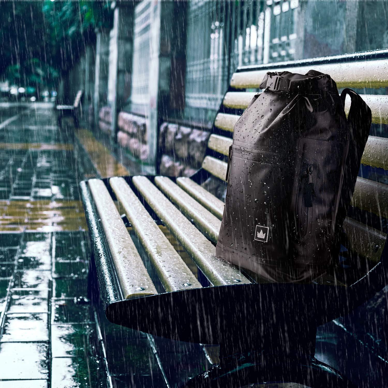 Rolltop-Rucksack-im-Regen-Wasserdicht-Damen-Schwarz