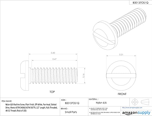 Nylon 6//6 Machine Screw Flat Head Slotted Drive Off-White Fully Threaded Plain Finish #8-32 Threads 3//8 Length Pack of 100 Meets ASTM D4066//ASTM D6779