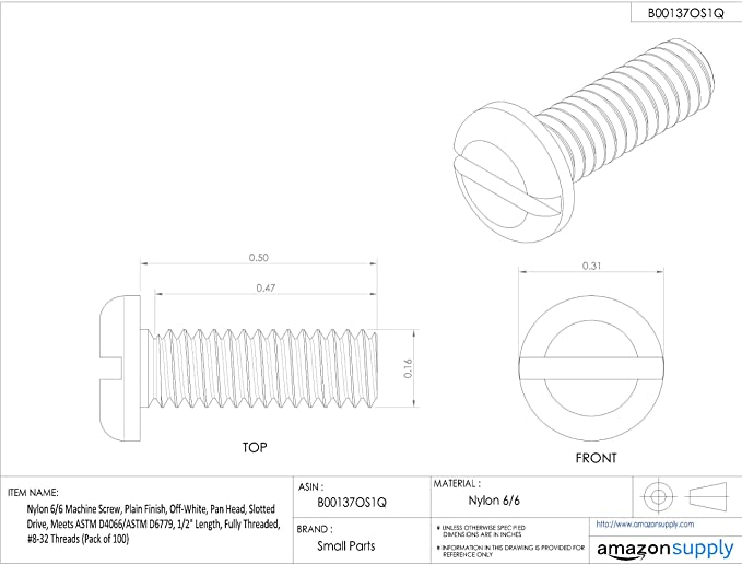 Meets ASTM D4066//ASTM D6779 Pack of 100 1//4 Length Small Parts 010632P025 1//4 Length Off-White Plain Finish Pan Head Slotted Drive Nylon 6//6 Machine Screw Fully Threaded #6-32 Threads