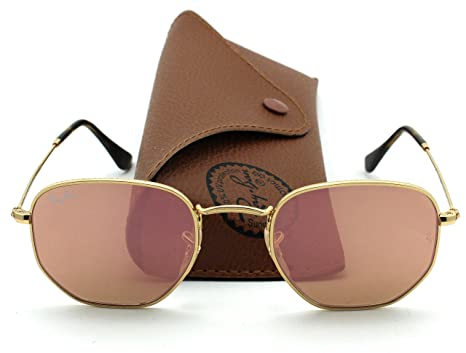 1371f53a26 Ray-Ban RB3548N HEXAGONAL FLAT LENSES Mirrored Sunglasses (Gold Frame Copper  Flash Lens