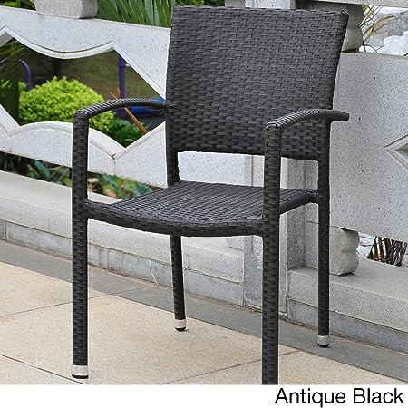 International Caravan Barcelona Resin Wicker Set of Six Square Back Dining Chair