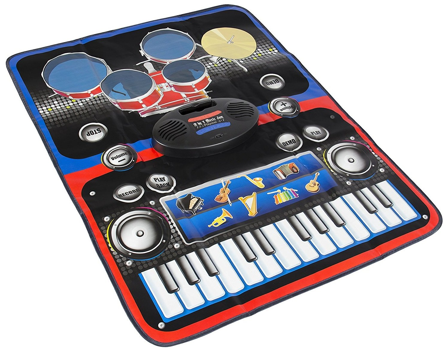 Play Kreative Electronic Drum and Piano Set Floor Fun Play Mat - Amazing Gifts for Boys & Girls - Playmat Includes Drumsticks
