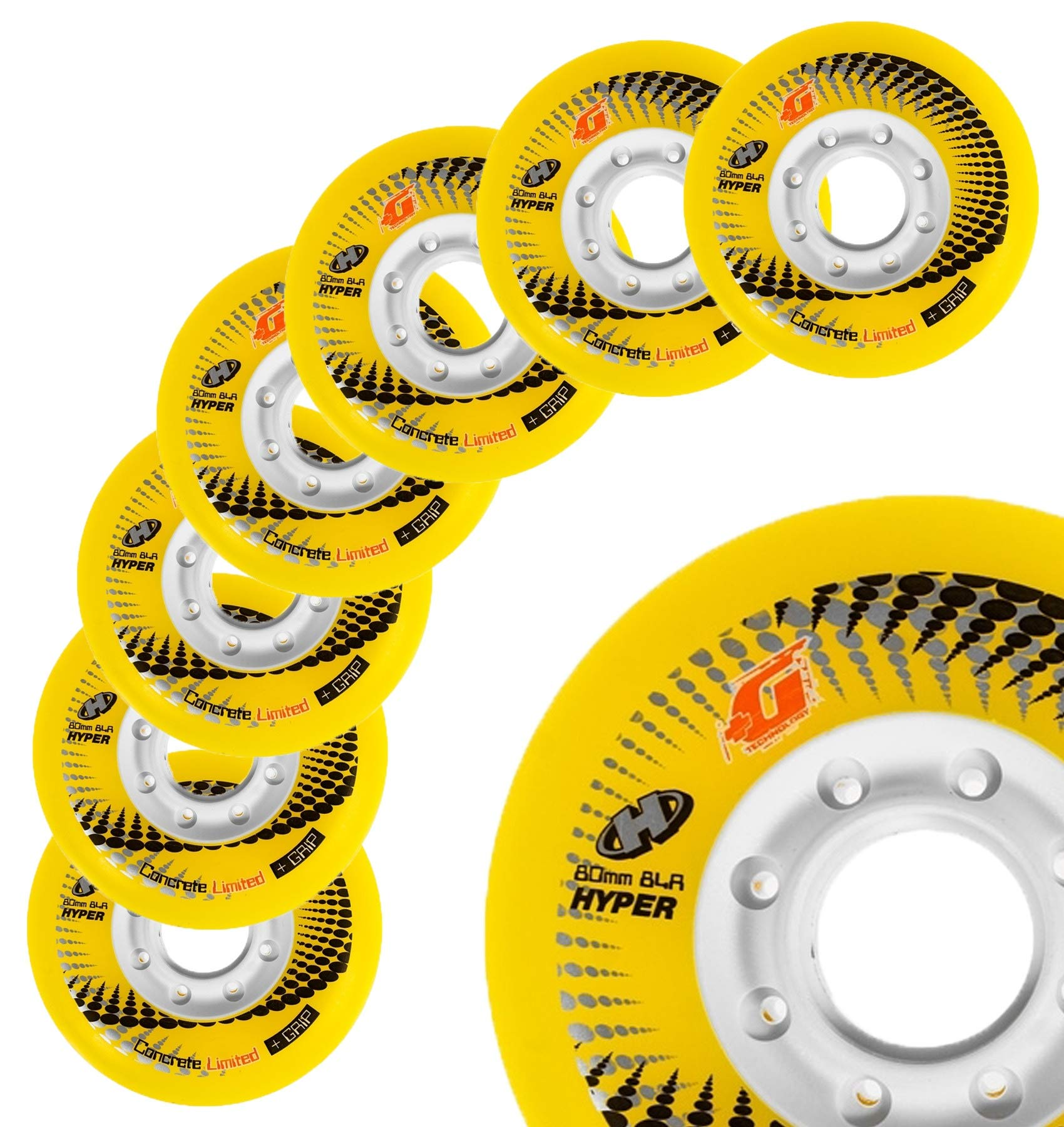 Inline Skate Wheels Hyper Concrete +G - 8 Wheels - 84A - Sizes: 72MM, 76MM, 80MM - Freeride, Slalom, Fitness, Urban - Colors: White, Black, Orange, Green, Cyan, Red (Yellow, 80MM) by Hyper Wheels