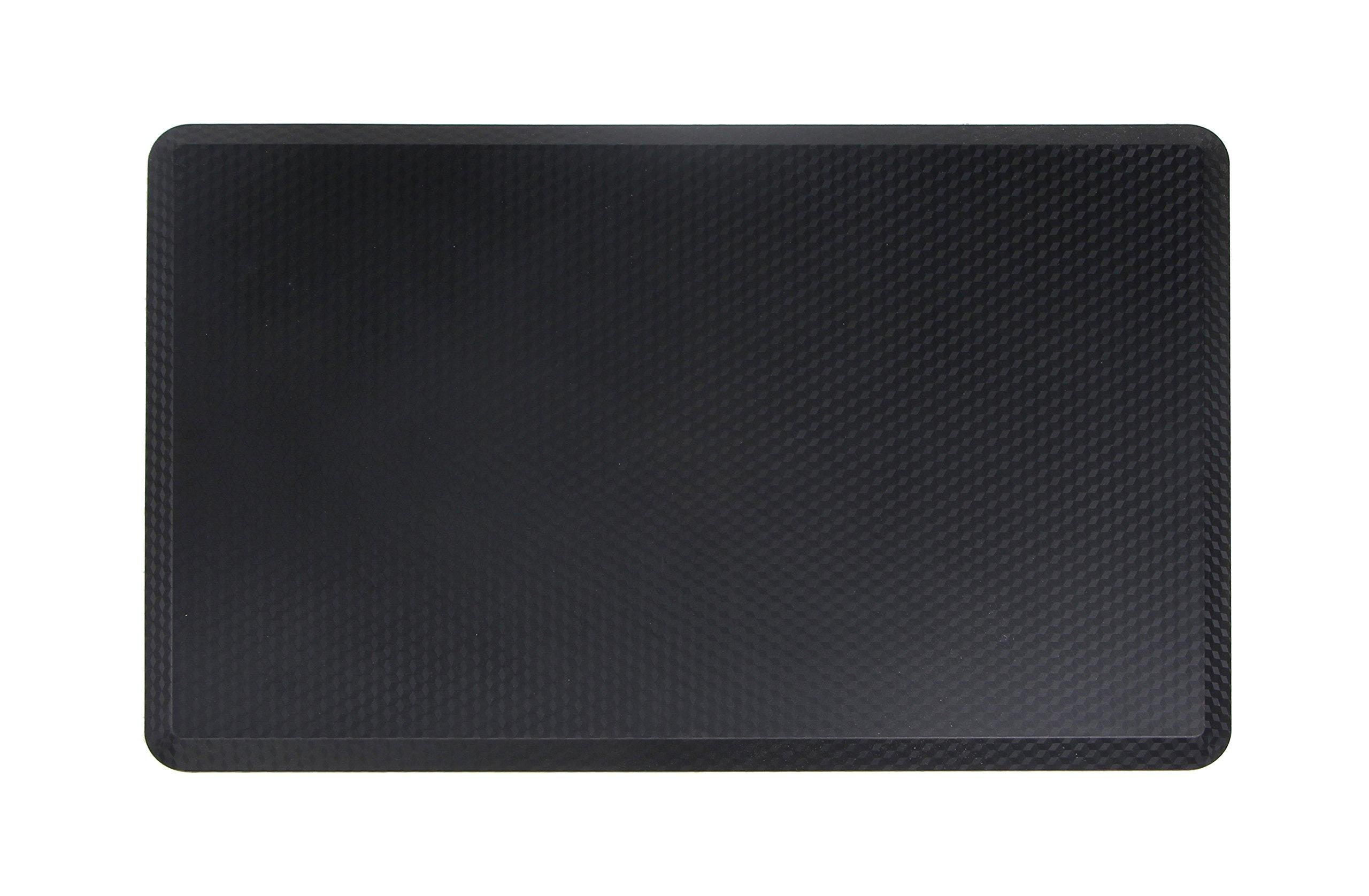 NKV Premium Anti-fatigue Comfort Floor Mat 30'' x 19'' x 3/4'' for Kitchen, Office, Standing Desks and Garages - Black