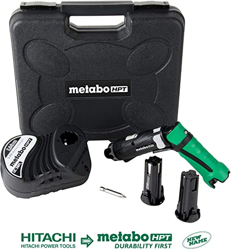 Metabo HPT Cordless Screwdriver Kit, 3.6V, Lithium Ion Batteries – 2, Dual Position Handle, LED Light, 21 Clutch Settings, Lifetime Tool Warranty DB3DL2