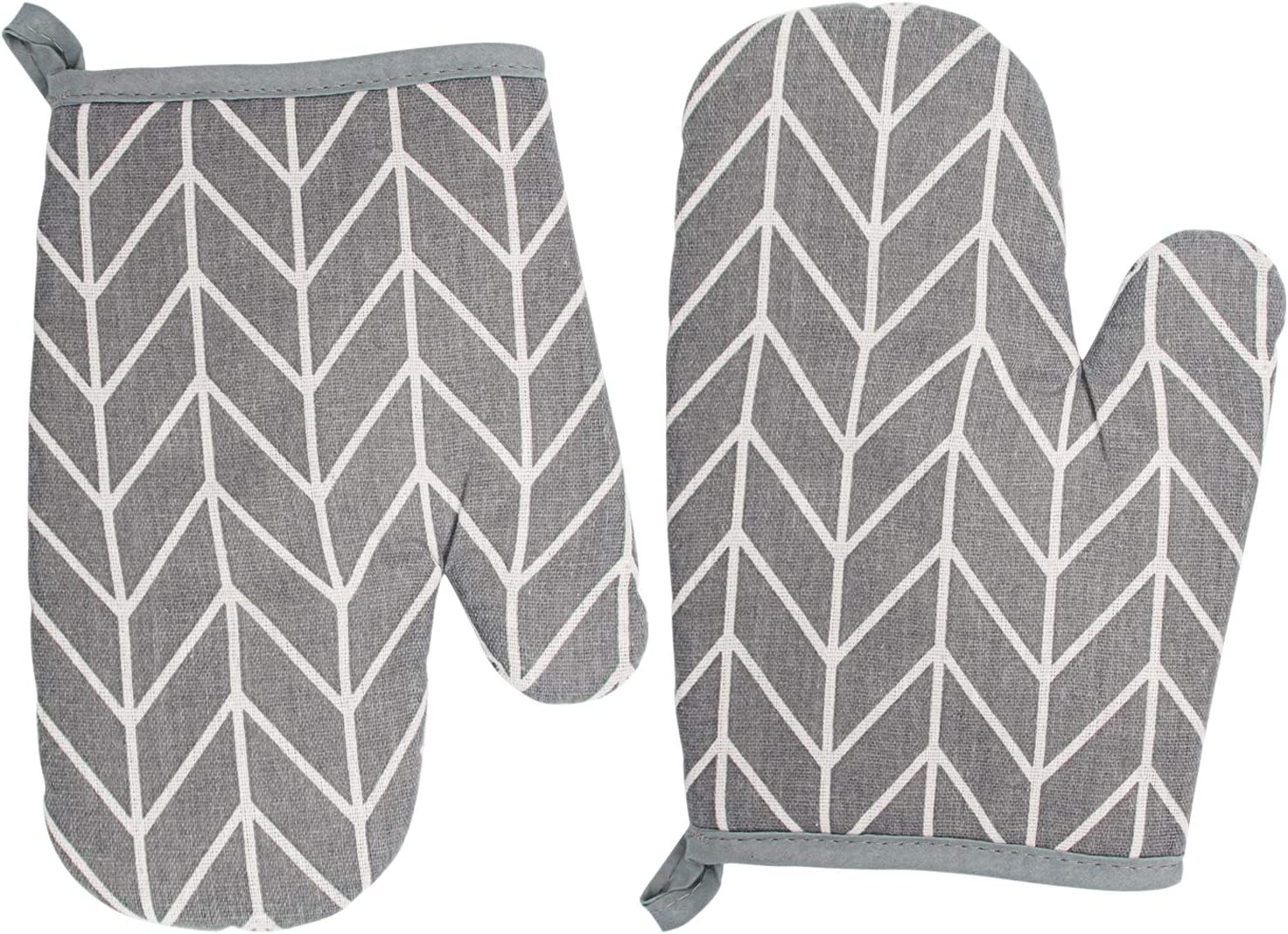 YoNiYar Oven Mitts, Extra Long Heat Resistant Oven Gloves, 1 Pair of Quilted Cotton Lining and Hanging Loop Funny Kitchen Oven Mitts Sets for Cooking, Baking, Microwave, Grilling and BBQ (Grey)