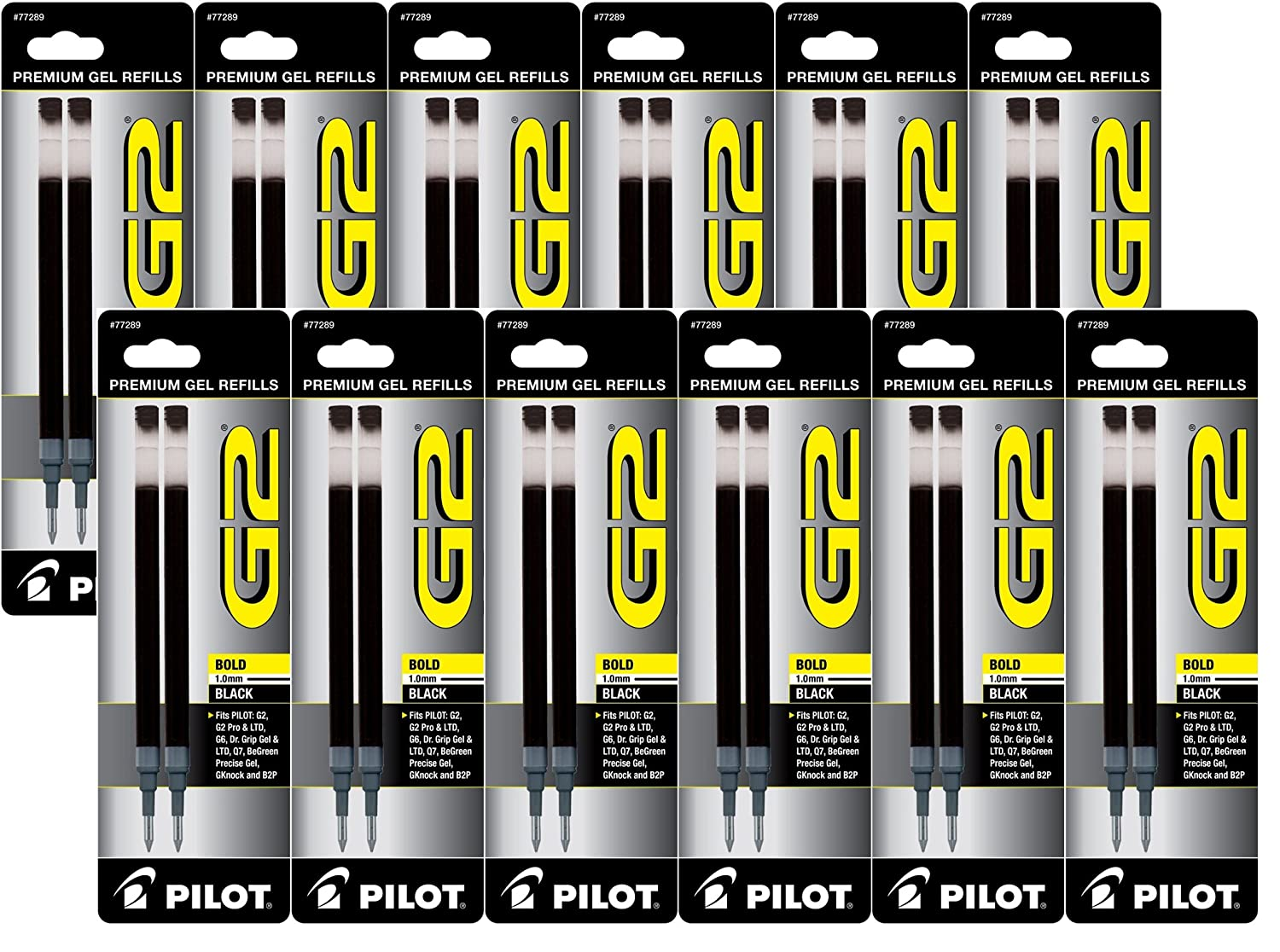 Black Pilot G2 Gel Ink Refill for Rolling Ball Pens, Bold Point 24 REFILLS 77291