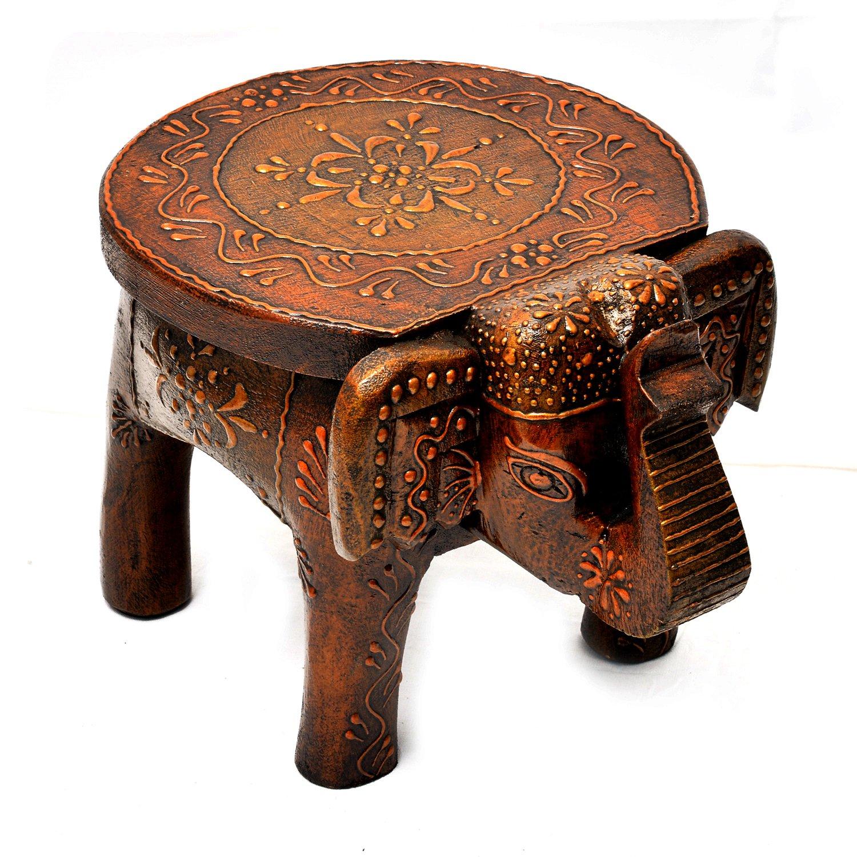 Amazon.com: Wooden Hand Painted Elephant Stool home Decor 8\