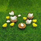 EMiEN 16 Pieces Hens Chickens Family Miniature Ornament Kits Set for DIY Fairy Garden Dollhouse Decoration,Hens,Henhouse,Chickens,Eggs Miniature Ornament for Fairy Garden Plant Décor