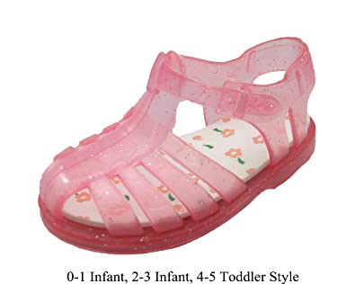 Amazon infant toddler girls pink jelly sandals w glitter and infant toddler girls pink jelly sandals w glitter and flower print insole w mightylinksfo