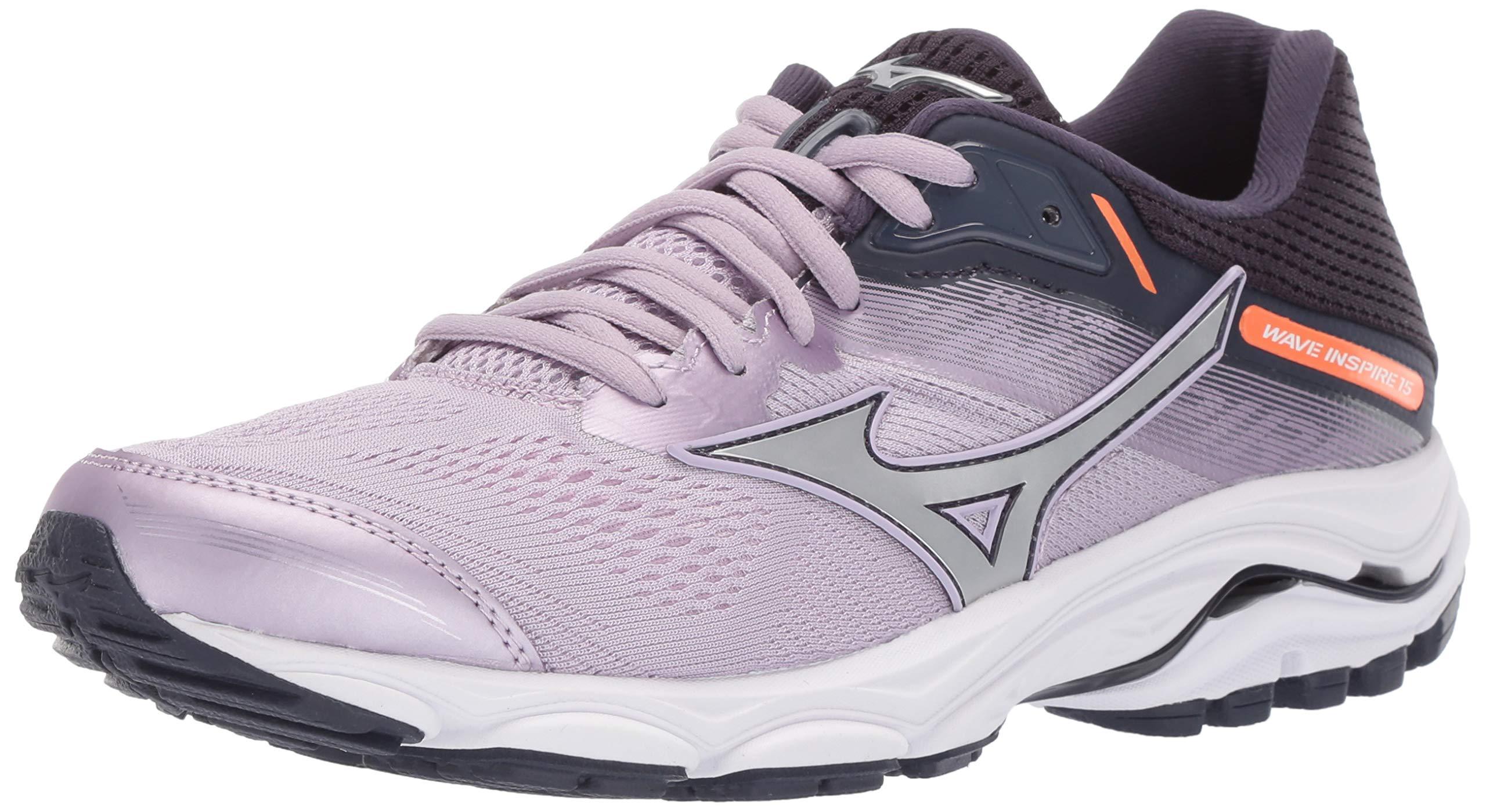 Mizuno Women's Wave Inspire 15 Running Shoe, Lavender Frost-Silver, 6 B US