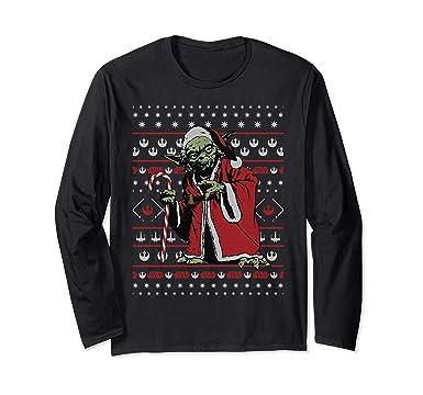 b366900c0394 Amazon.com  Star Wars Yoda Santa Ugly Christmas Sweater Long Sleeve ...