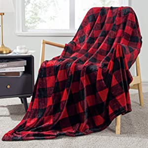 Topfinel Buffalo Check Plaid Throw Blanket Red and Black Decor 50 x 60 inch Flannel Couch Blanket