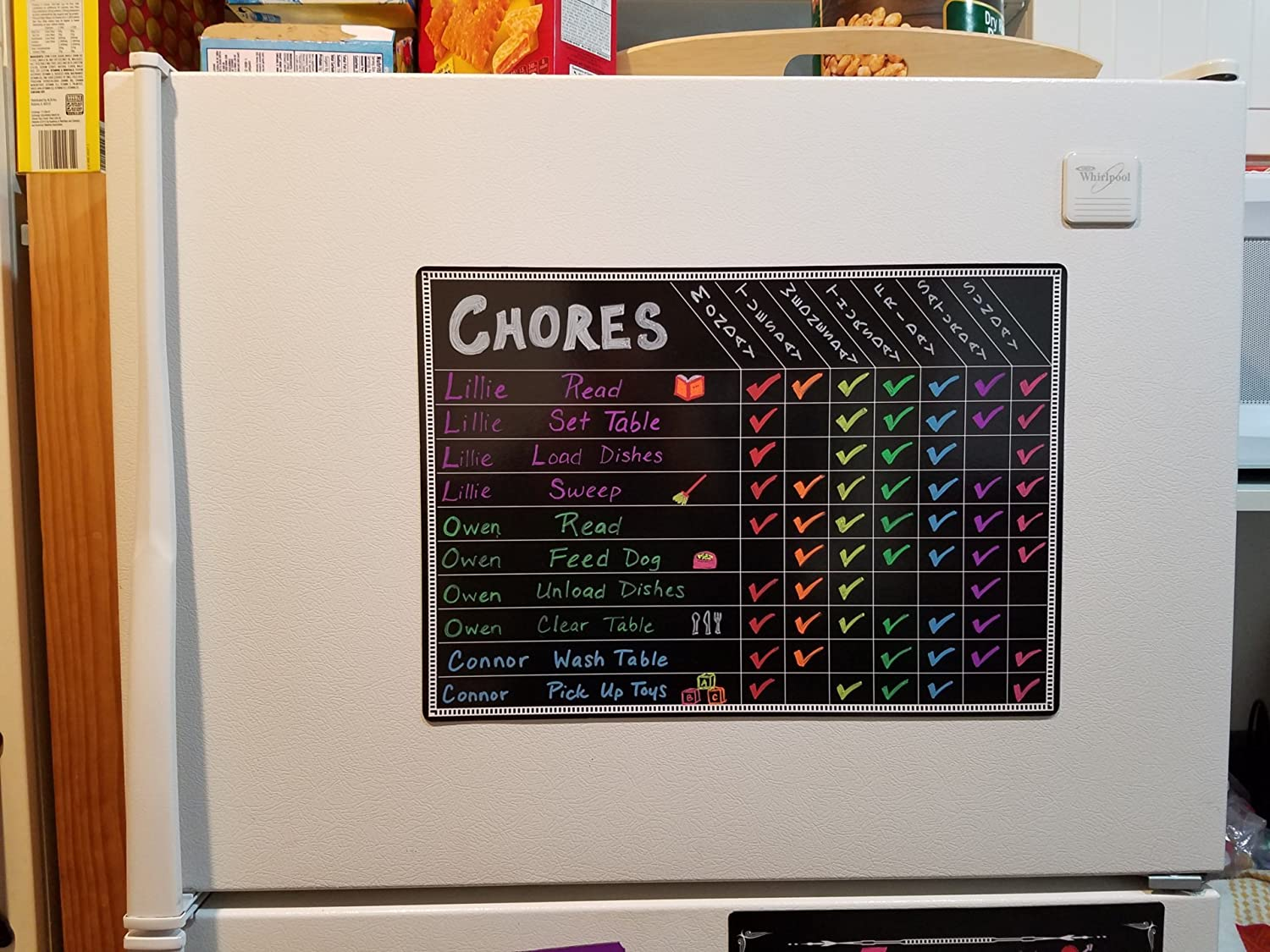 Chore Charts for Kids Multi Use Magnetic Dry Erase Board Responsibility Behavior Chart Menu Planner to Do Calendar 12x17
