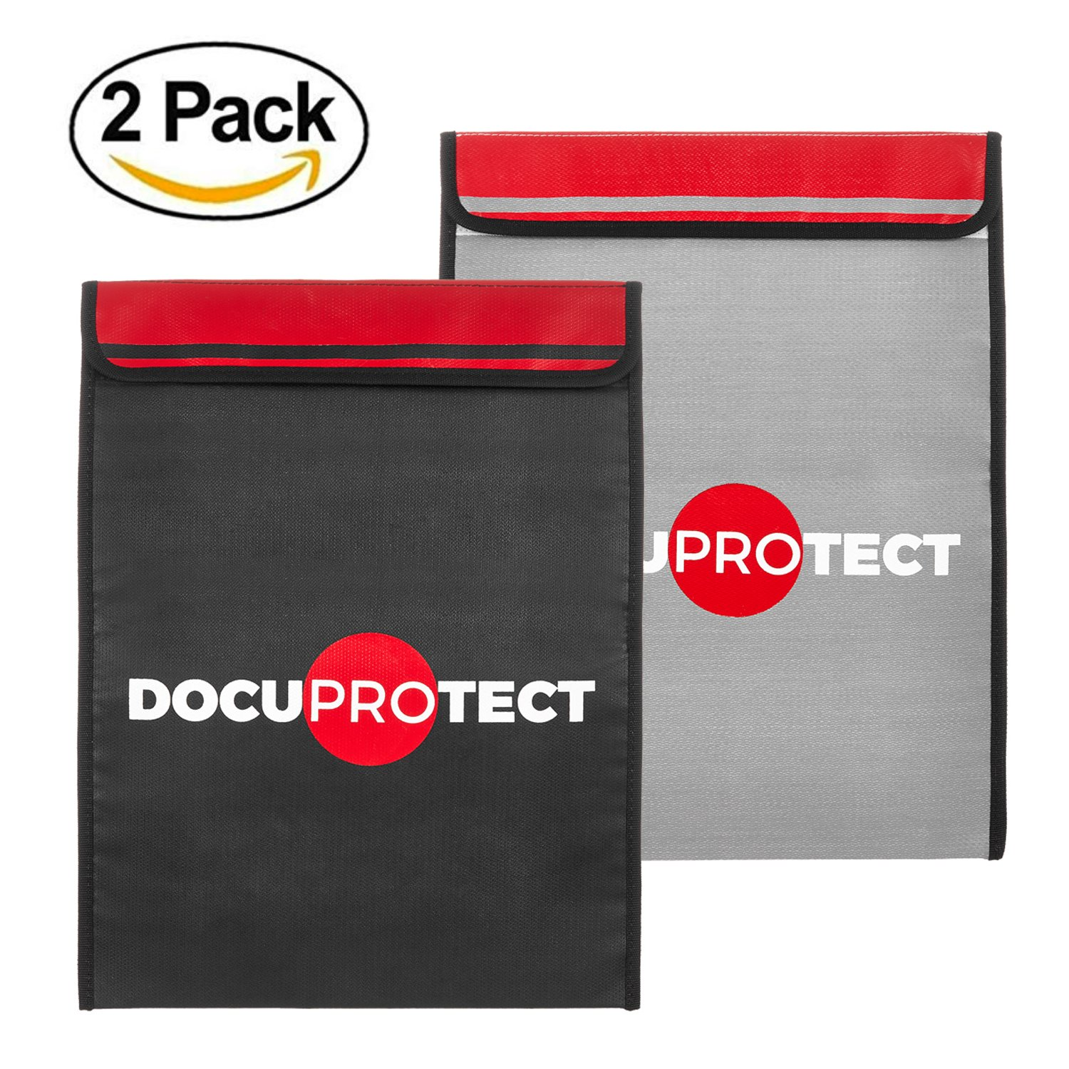 """Fireproof Document Bags - DocuProtect Set of Two 16"""" x 12"""" Non-Itchy Silicone Coated Fire Resistant Safe and Money Bag for Storing Documents, Money, Jewelry, and Passports"""