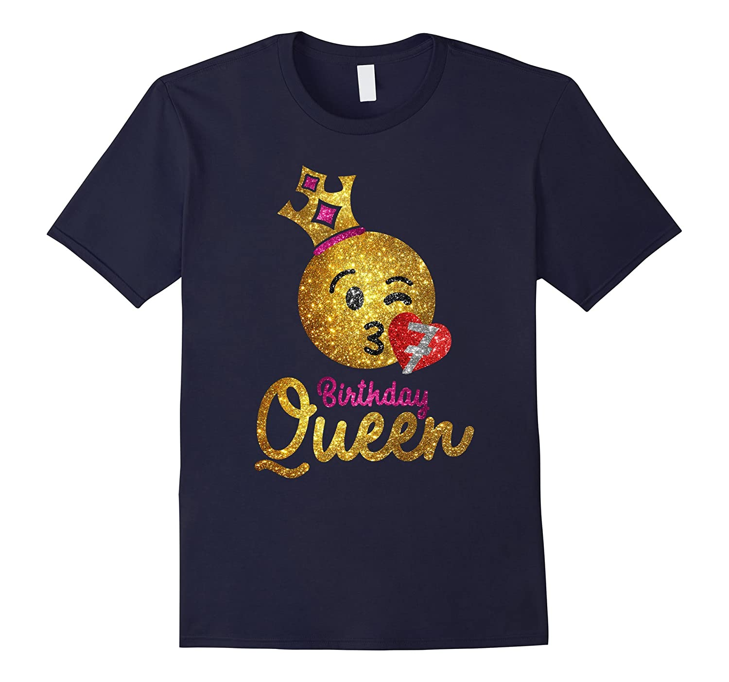Birthday Queen Emoji Shirt - Girls 7th Birthday Shirt-FL