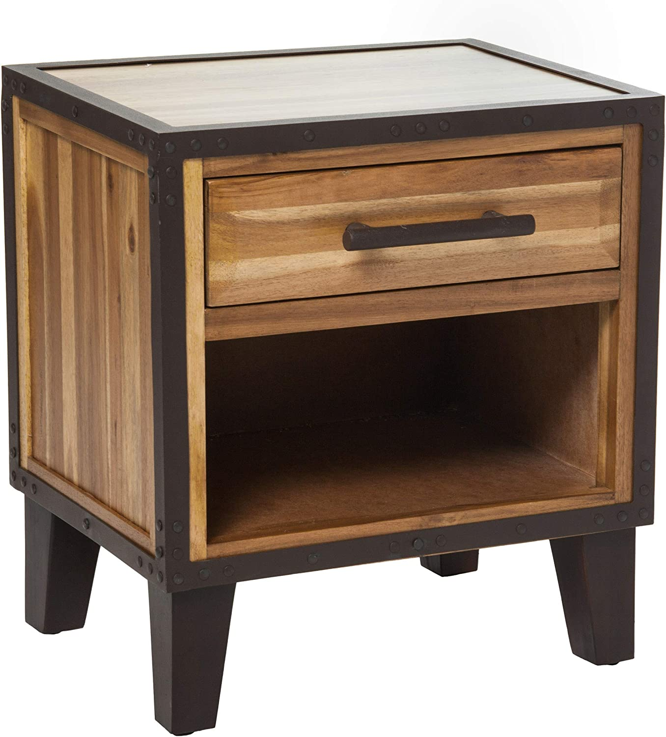 Christopher Knight Home Glendora Industrial Solid Wood Single Drawer End Table Nightstand Brown Amazon Ca Home Kitchen