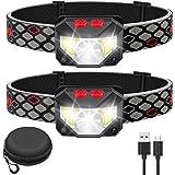 Kucoal LED Rechargeable Headlamp,2-PACK Waterproof Flashlight Motion Sensor Control Head lamp, 1000 Lumen Bright 30 Hours Run