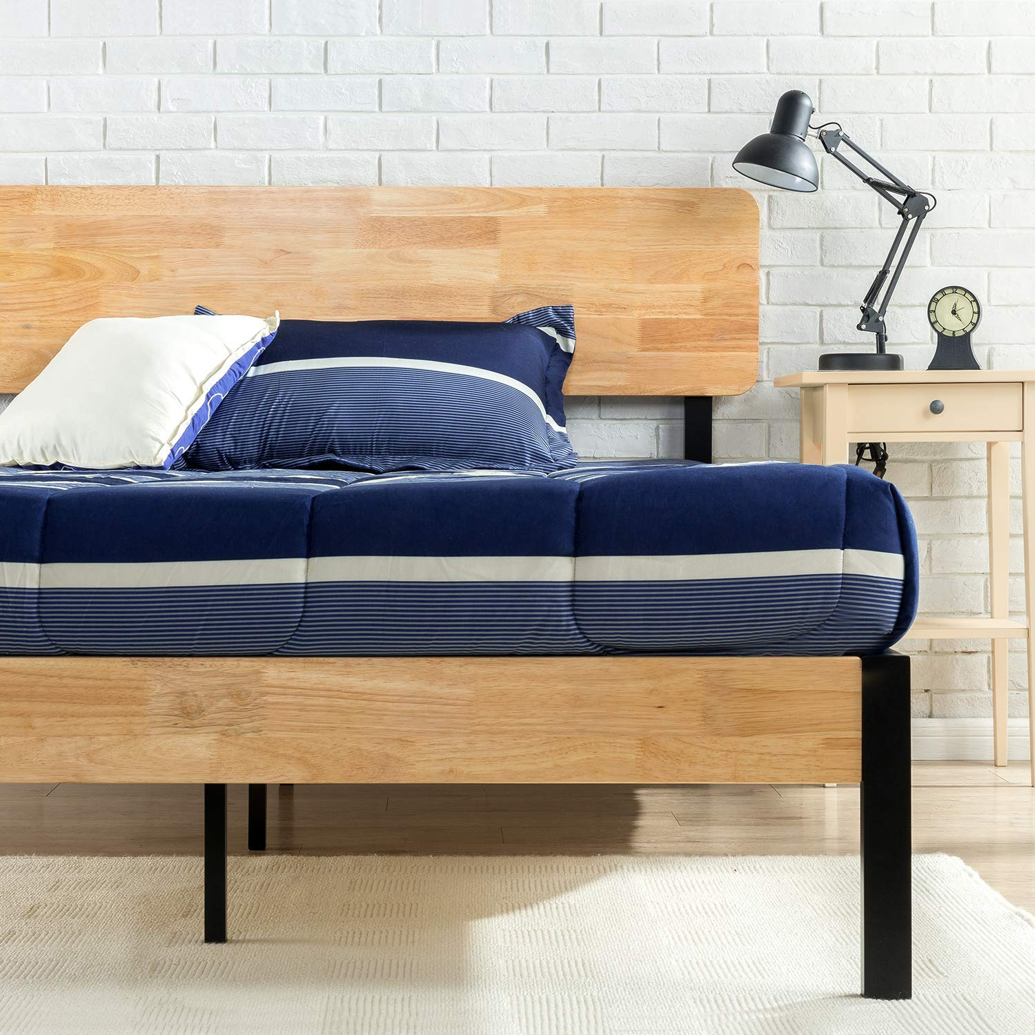 Zinus Olivia Metal and Wood Platform Bed with Wood Slat Support, Full Renewed