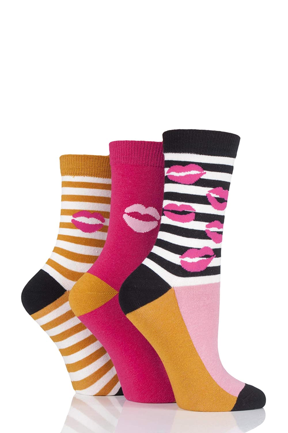 Lulu Guinness Ladies Kisses and Stripes Cotton Socks Pack of 3