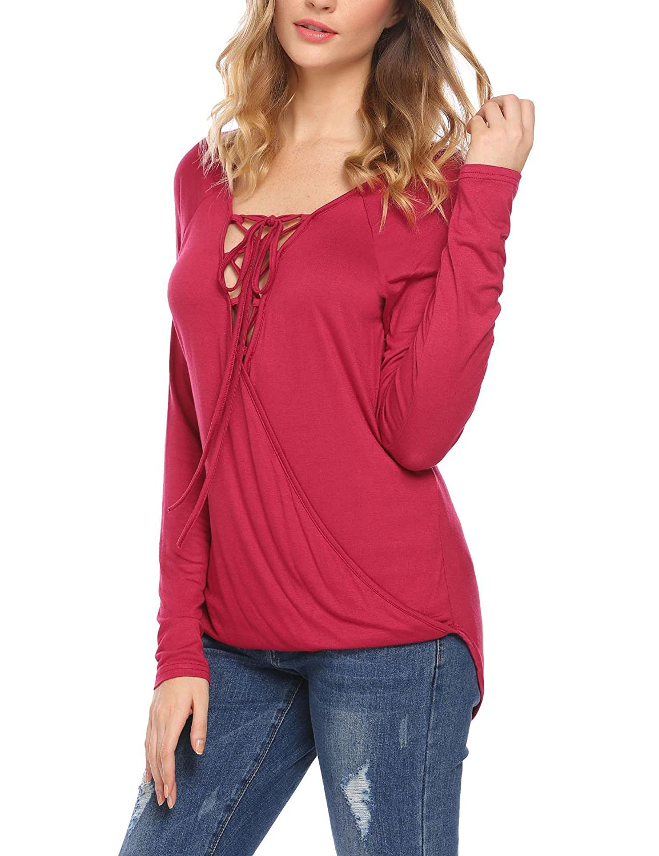 77d01a8df8 Amazon.com  Zeagoo Women V Neck Cut Out 3 4 Sleeve Shirts Open Back Criss  Cross Blouse Tops  Clothing