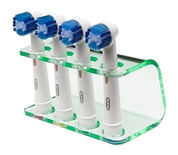 Seemii - Soporte para cabezales de cepillo de dientes electrónico, Soporta 2 ó 4 cabezales, Soporte Oral-B cabezales, Verde transparente (4): Amazon.es: ...