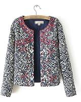 Rhouqujinh Women O-Neck Vintage Coat Floral Jackets y Chaquetas Winter Jacket
