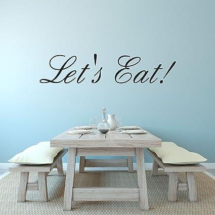 Amazon.com: Let\'s Eat! - Kitchen Quotes Wall Art Vinyl Decal ...