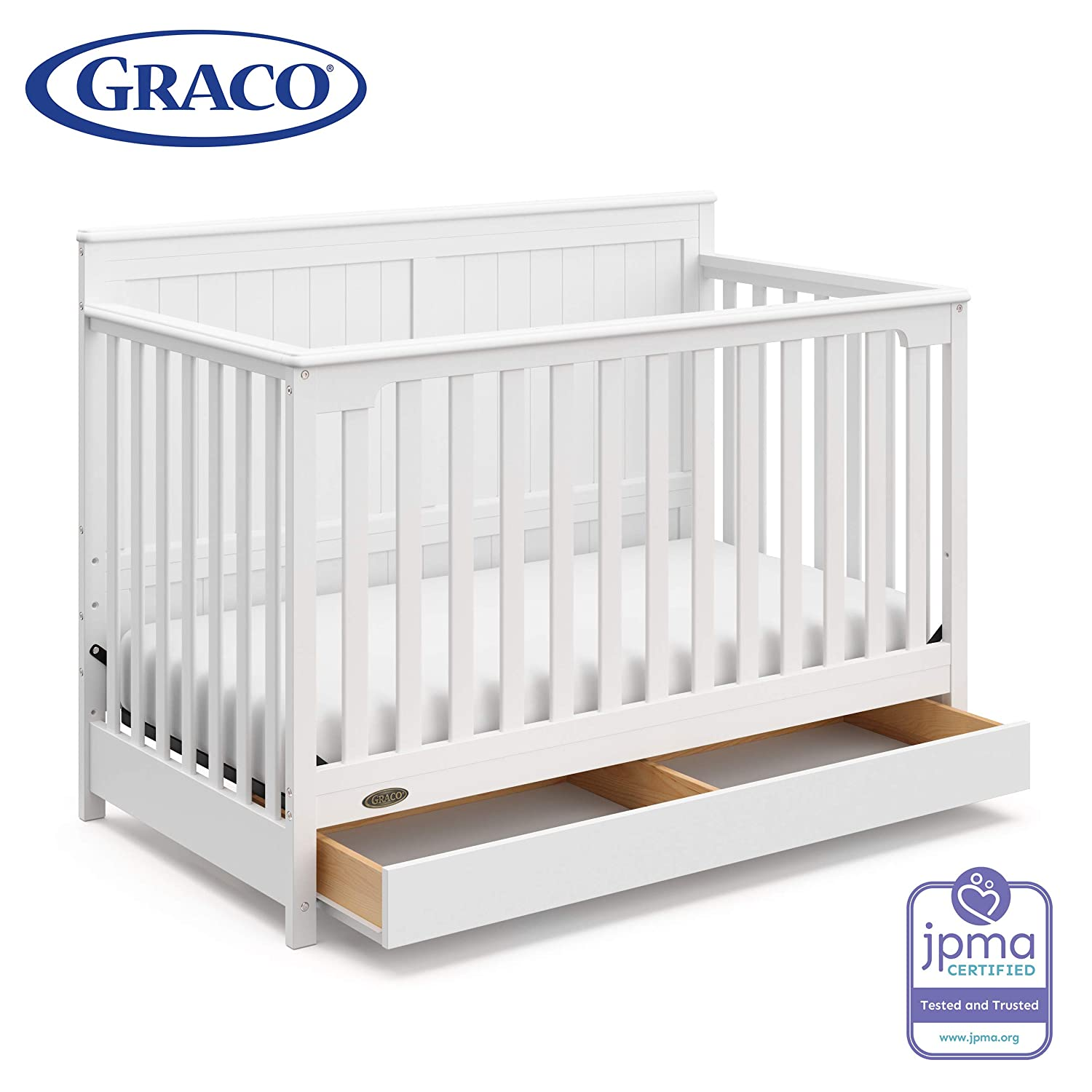 Graco Hadley 4-in-1 Convertible Crib with Drawer, White, Easily Converts to Toddler Bed Day Bed or Full Bed, Three Position Adjustable Height Mattress, Some Assembly Required Mattress Not Included
