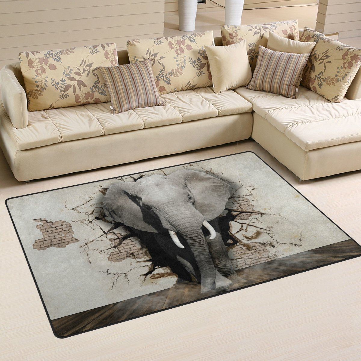 Amazon com elephant coming out of the wall area rug 60 x 39 inch doormat indoor outdoor decor carpet for entrance living room bedroom office kitchen
