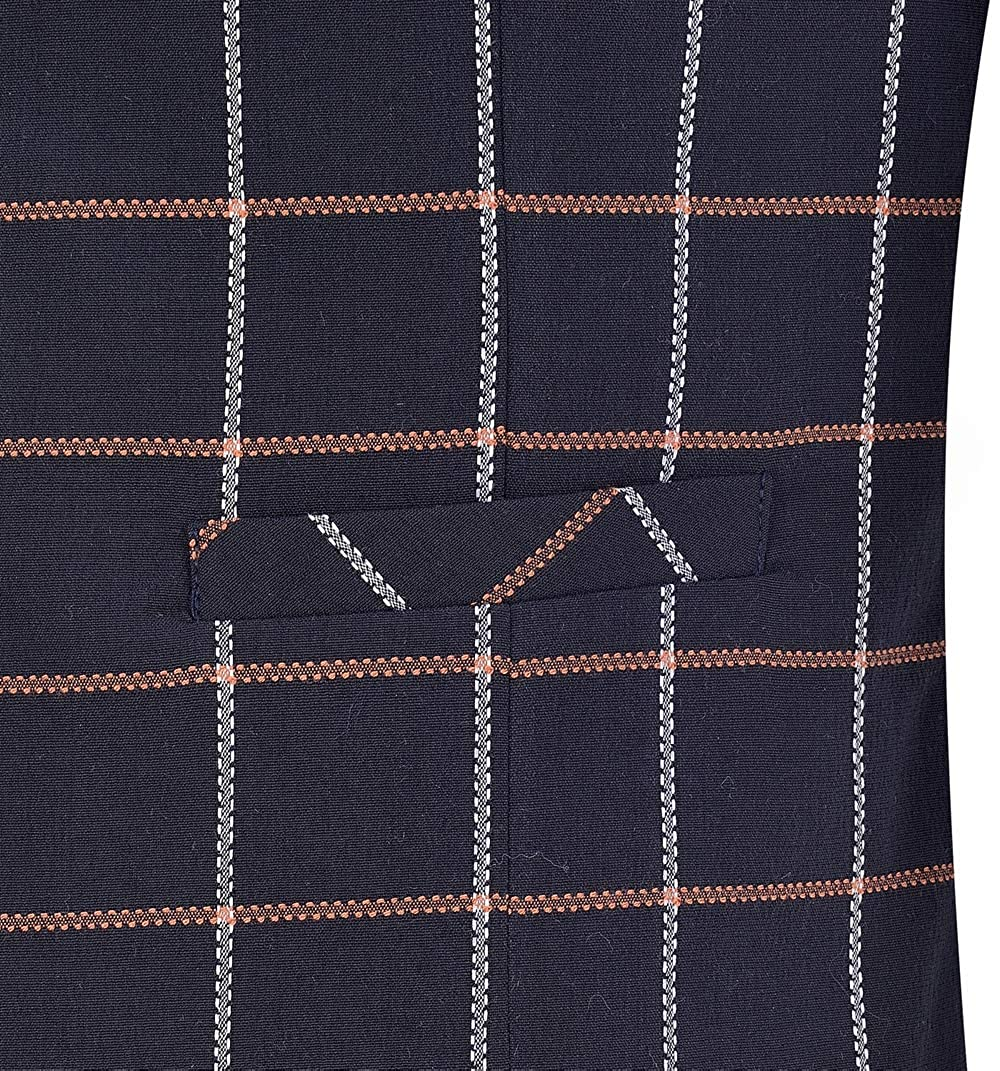 Fitty Lell Mens Plaid Groom Vests Notch Lapel Casual Slim Fit Skinny Dress Vest Waistcoat