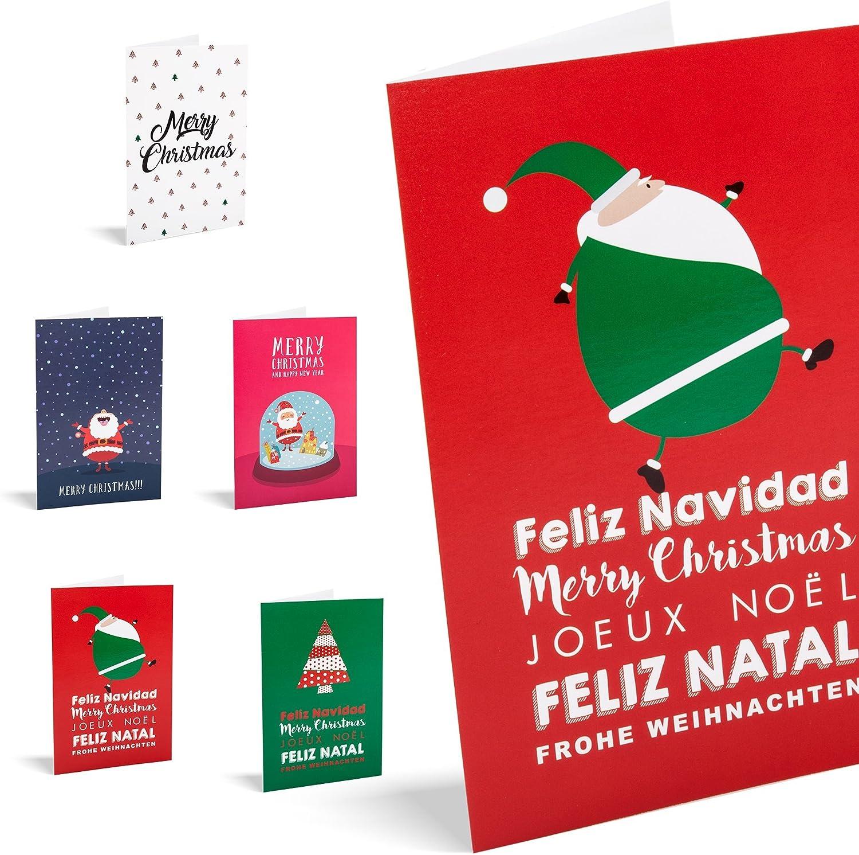 Tarjetas de navidad Snow. Pack De 10 Tarjetas.: Amazon.es: Oficina y papelería