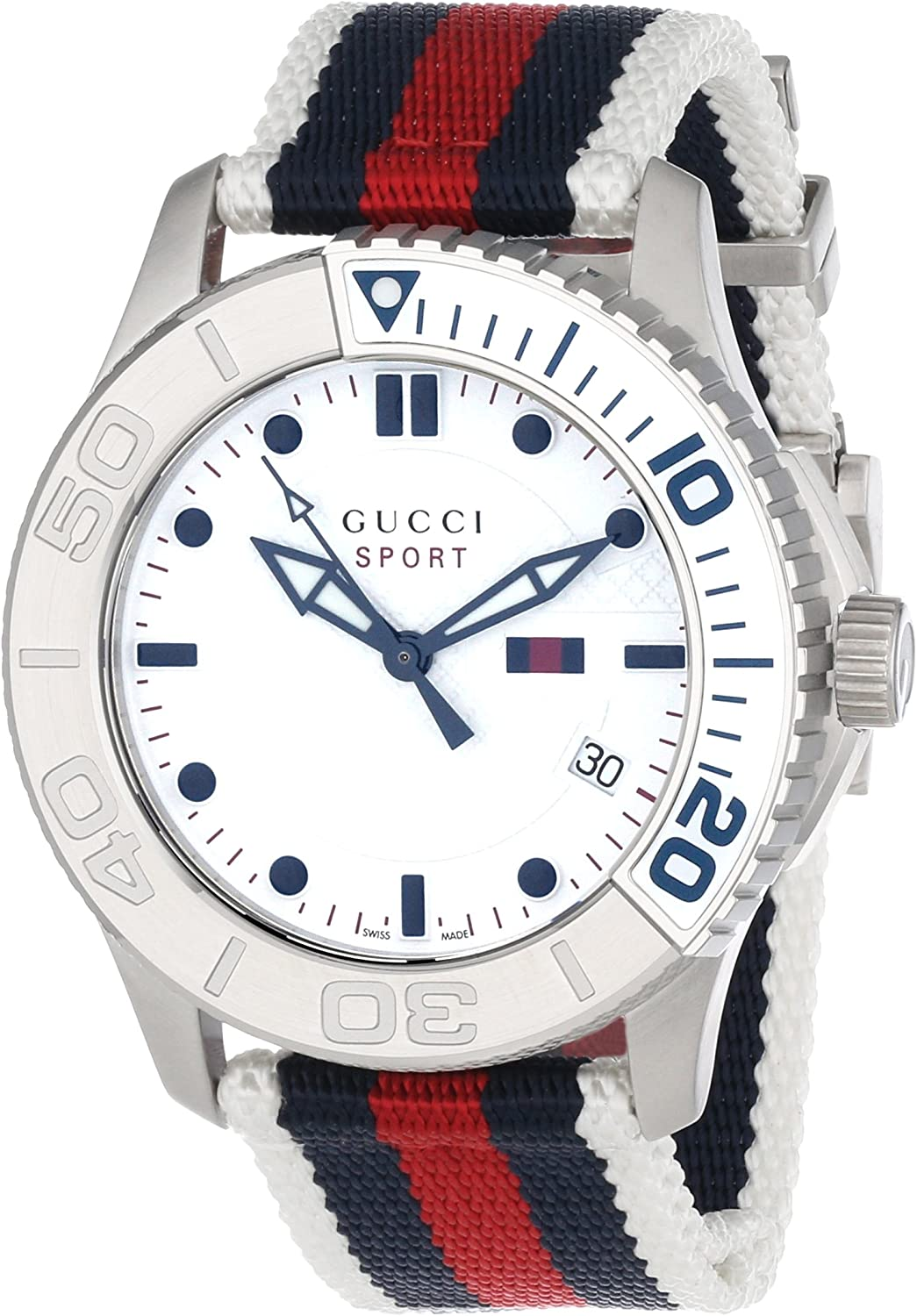 Gucci G Timeless Stainless Steel Unisex Watch with Canvas Band Model YA126239
