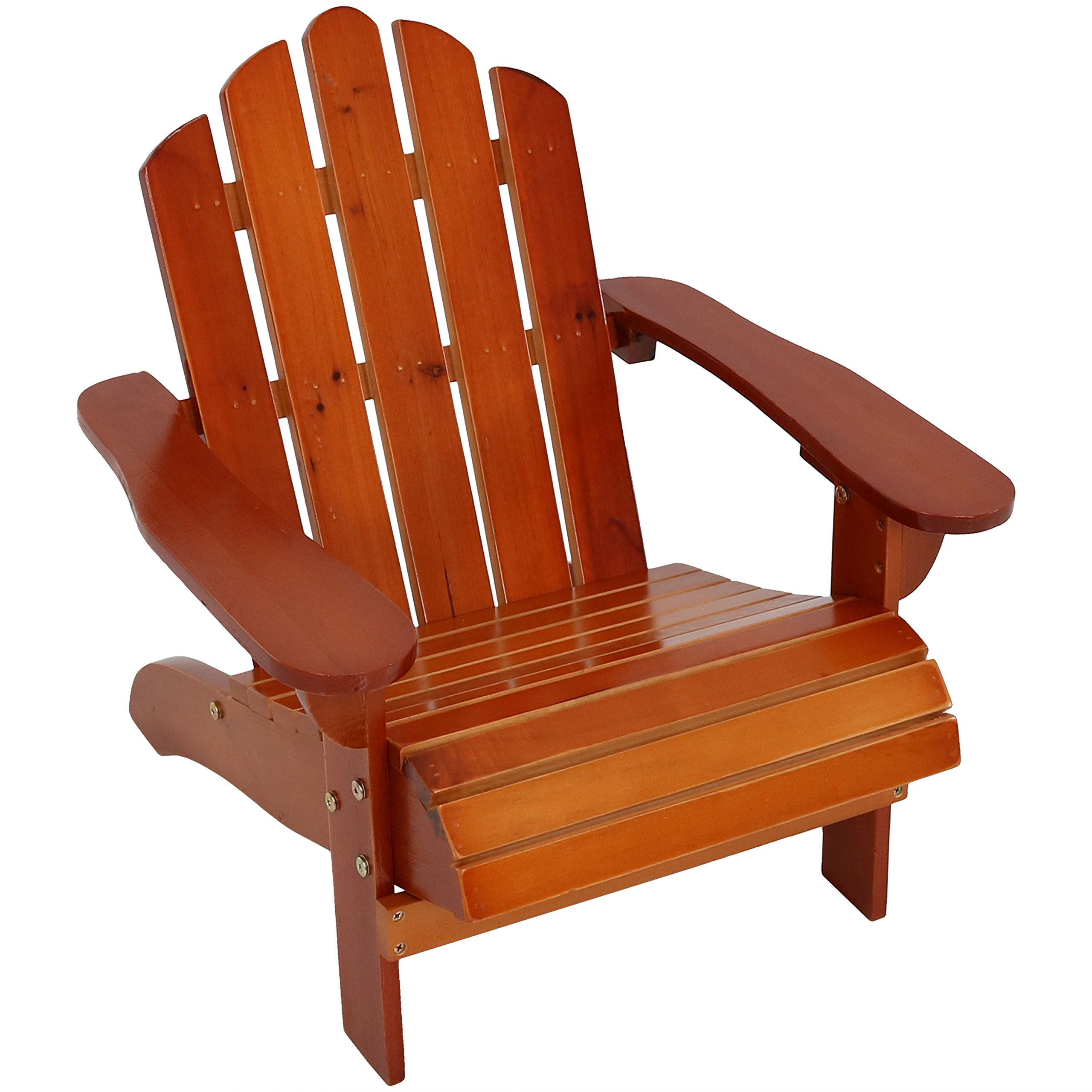 Sunnydaze Toddler Classic Wooden Adirondack Chair with Non-Toxic Paint Finish, Fits Most Children Under 3 Feet Tall, Brown