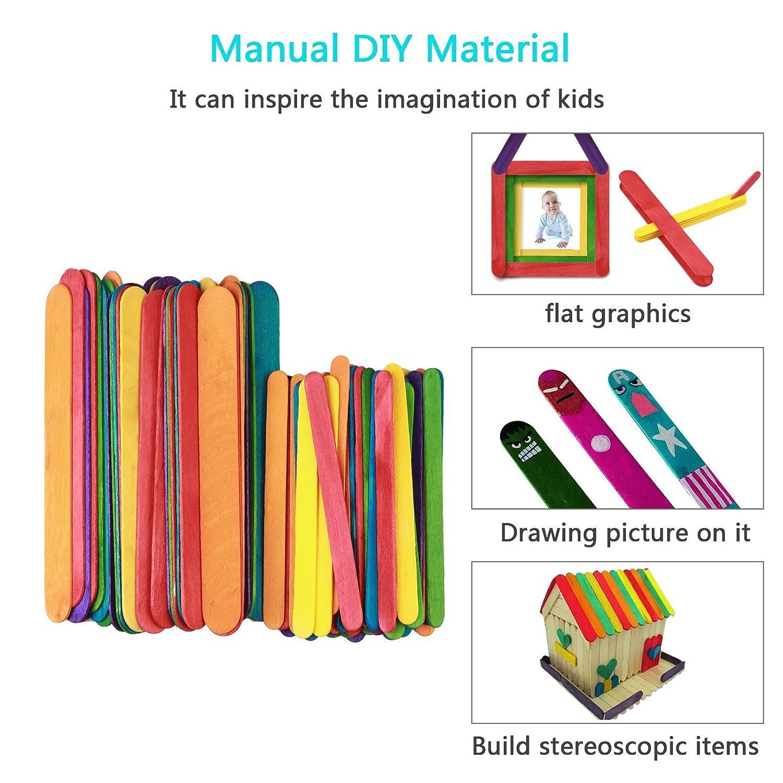 LANMOK Rainbow Colorful Wood Craft Sticks 150pcs DIY Multi-Colored Jumbo Craft Sticks for Crafters Kids Teachers