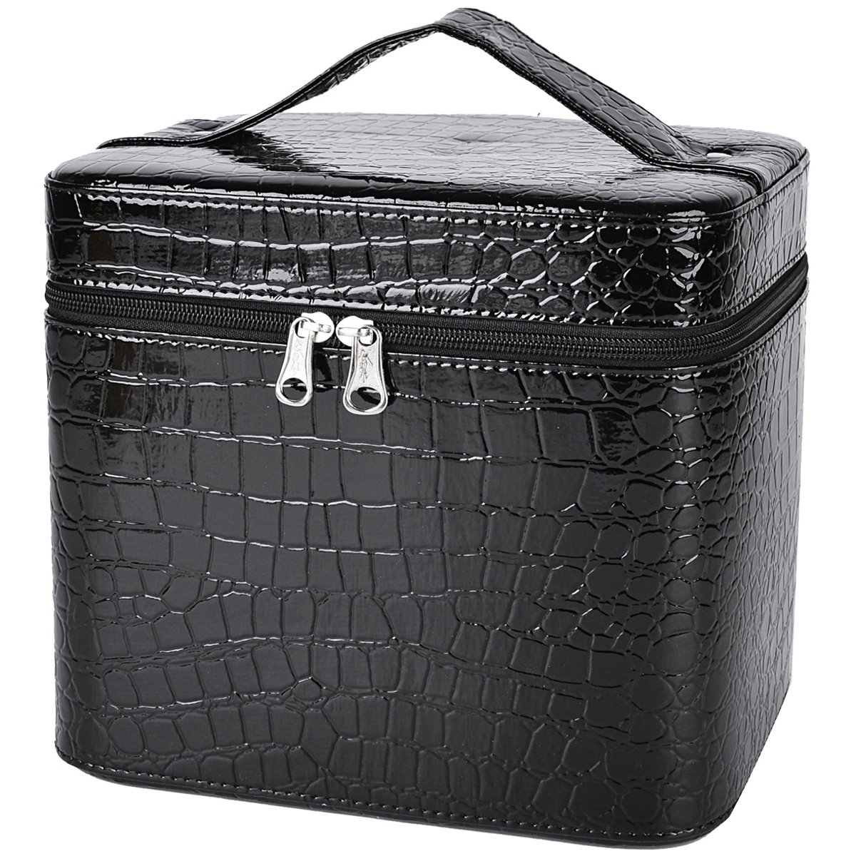 Train Case,COOFIT Portable Travel Makeup Case Crocodile Pattern Leather Beauty Box for Women Large Black