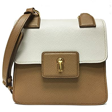 51b1e8d16fb2c0 Image Unavailable. Image not available for. Color: Prada Saffiano Cuir  Pattina Caramel Beige & Talco White Leather Shoulder Bag BT1015