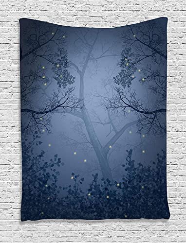 ADAM MARTINEZ JR Mystic Forest Decor Tapestry, Fog Dark Gloomy Horror Mist Forest with Fairy Dragonflies on Branches Print, Wall Hanging for Bedroom Living Room Dorm, 60WX80L Inches, Blue