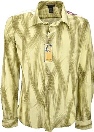 Custo Hombre de La Camisa de Color Beige Pinceladas de Color Marrón - Bordados EN Los Hombros: Amazon.es: Ropa y accesorios