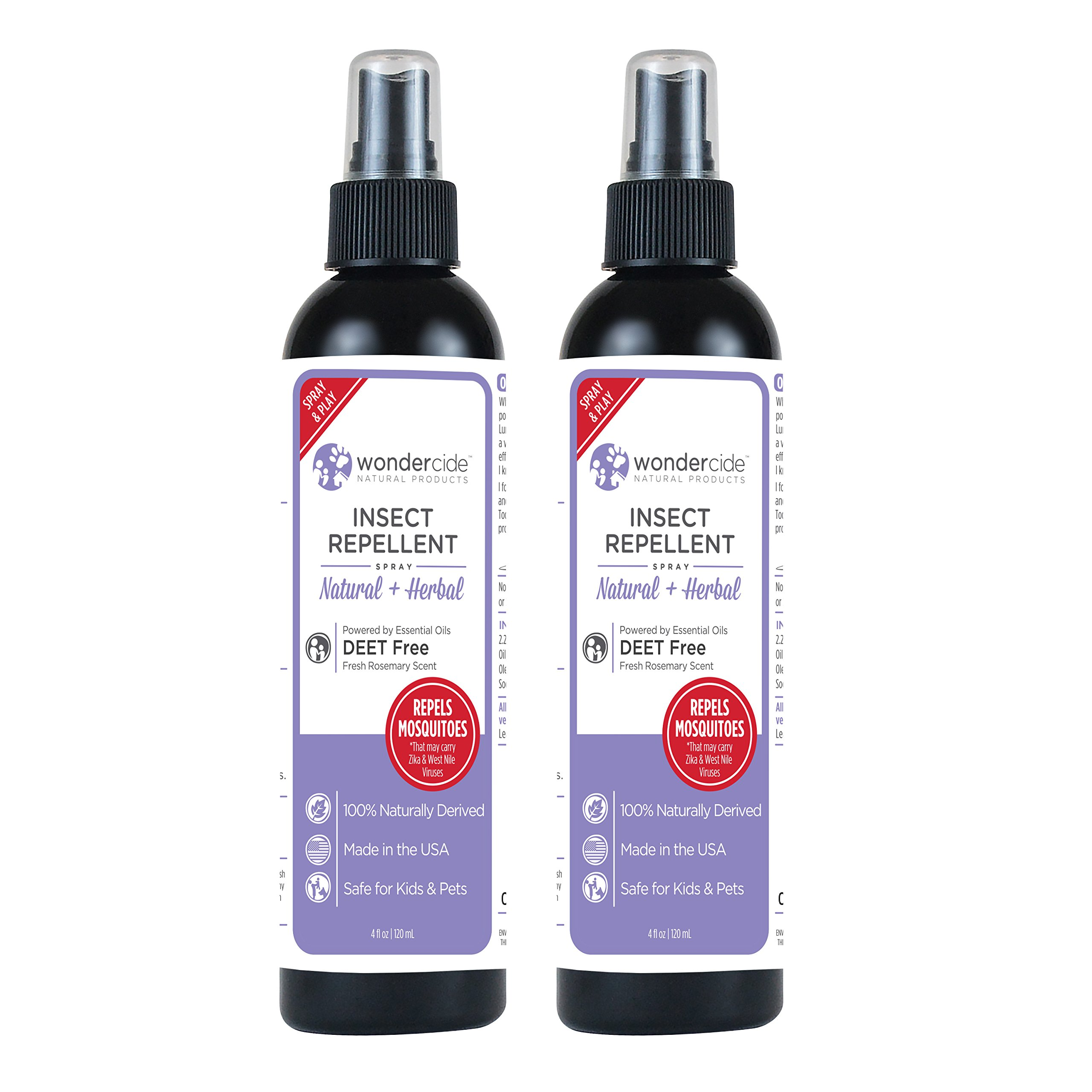 Wondercide Natural Deet Free Insect Repellent 4 oz Pack of 2 (Rosemary)