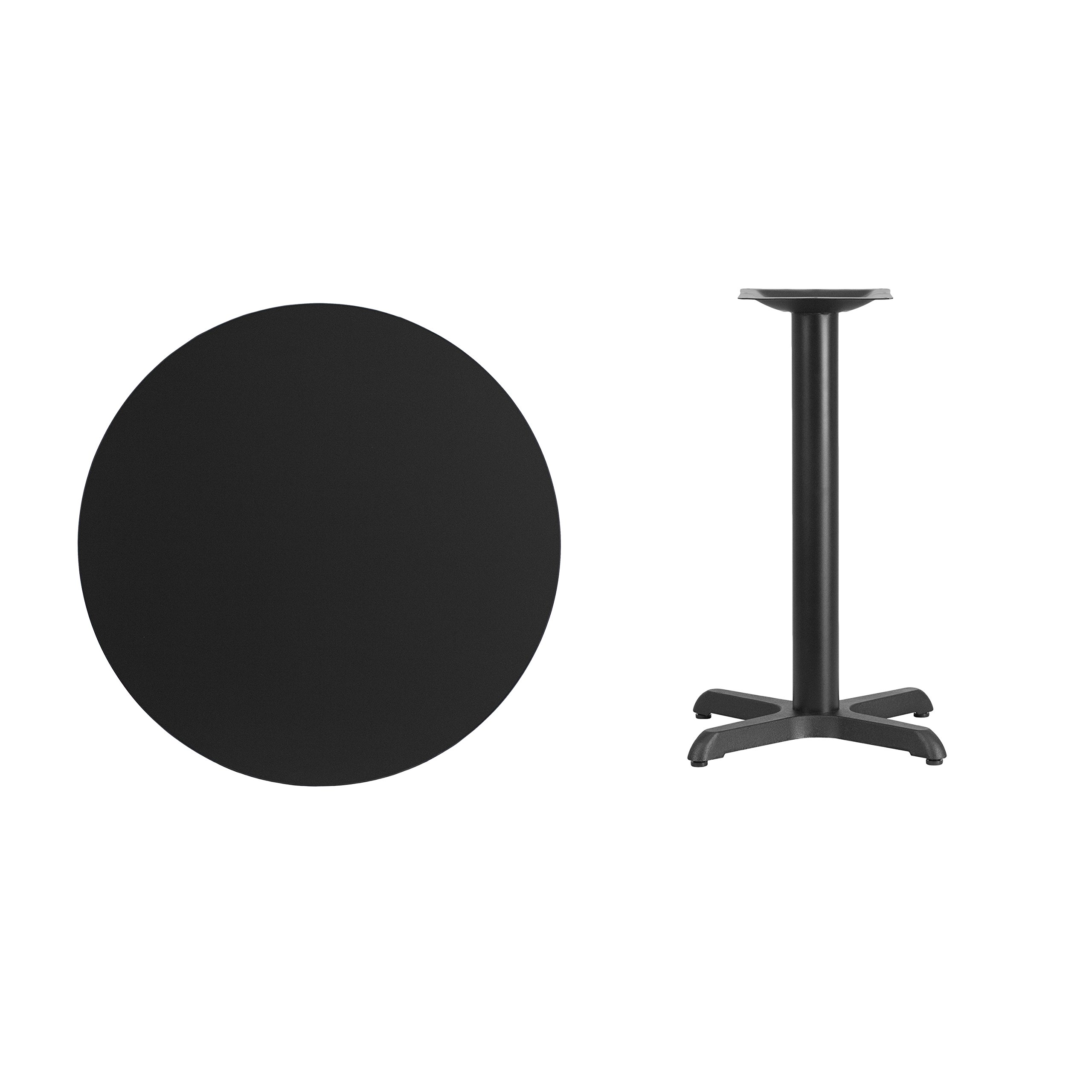Flash Furniture 30'' Round Black Laminate Table Top with 22'' x 22'' Table Height Base