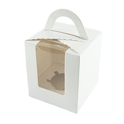 0b53295e37d4 Bakewell's Cake Boxes 10 x Single Cupcake Boxes in White with Handle and  Display Window Large Sturdy Individual 9.5cm x 9.5cm x 11cm Cake Holder ...