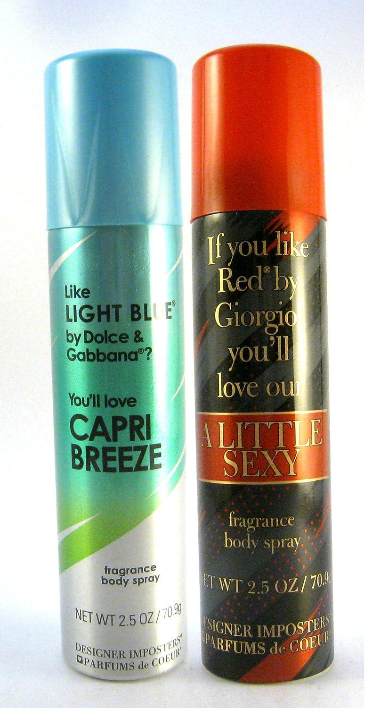 Designer Imposters Women Body Spray 2.5 oz Bundle: (Capri Breeze / A Little Sexy)