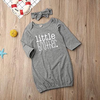 Newborn Baby Girls Sleeping Gown Mamas Bestie Little Sister Sleepwear Floral Dinosaur Sleeping Bags Headband Outfit