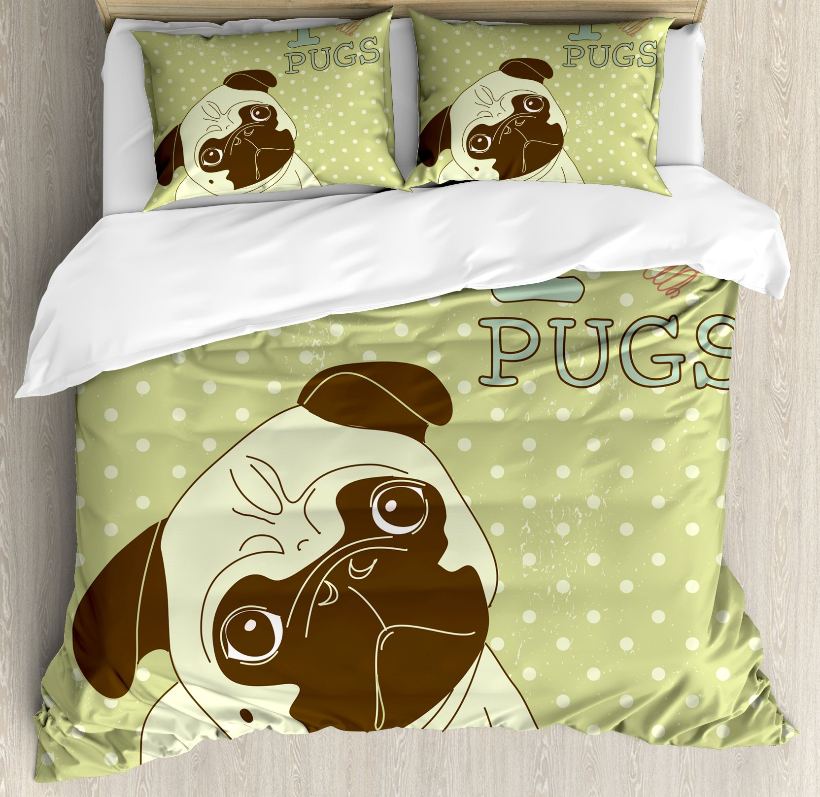 Pug Duvet Cover Set King Size by Ambesonne, Cute Little Dog with Tilted Head with Lovely Expression I Love Pugs Pet, Decorative 3 Piece Bedding Set with 2 Pillow Shams, Avocado Green Baby Blue