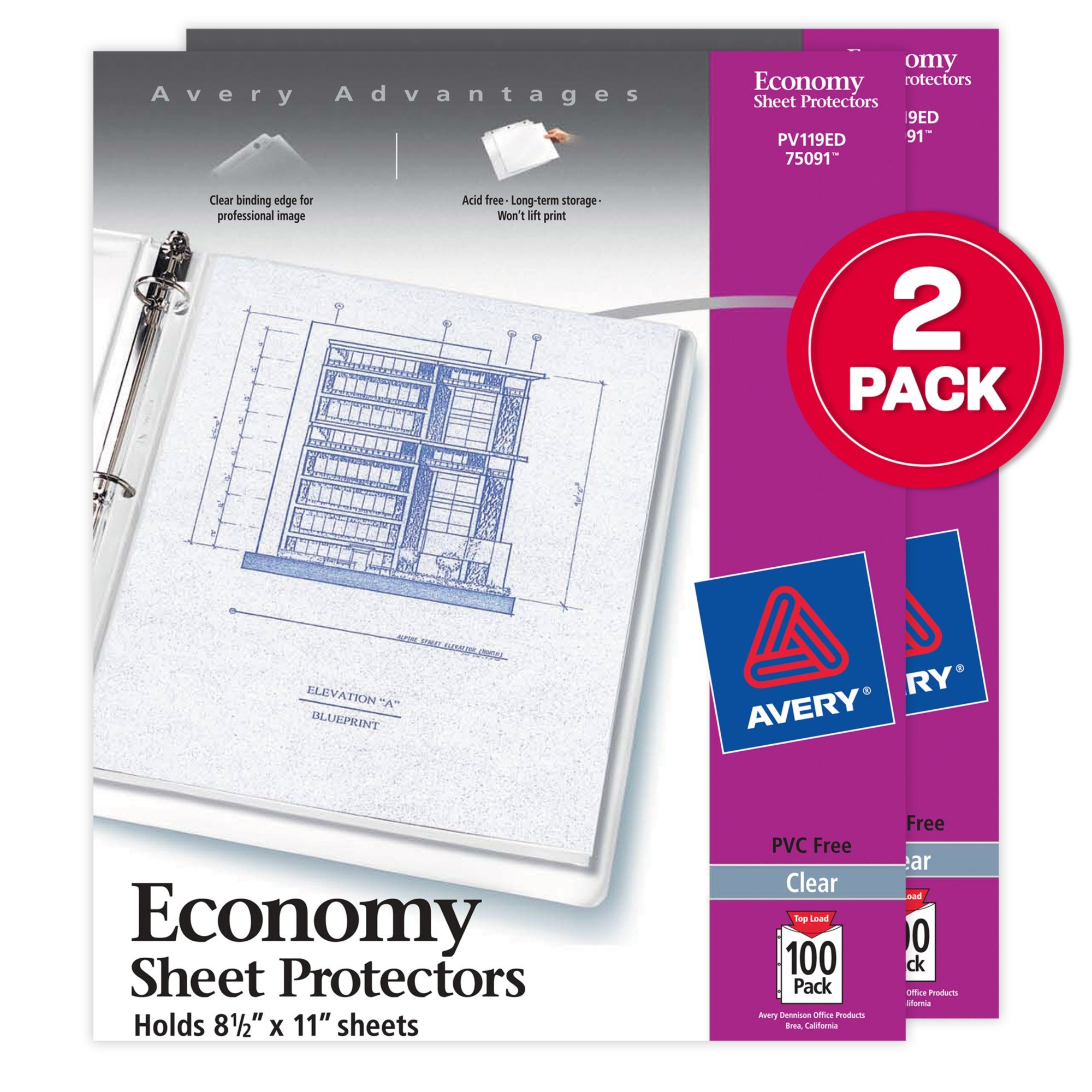 Avery Economy Clear Sheet Protectors, Acid Free, Letter Size, 2 Boxes, 100 Each (75091)